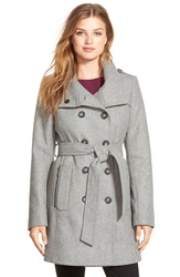 Dkny Double Breasted Wool Blend Trench Coat Light Grey