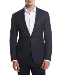 Ralph Lauren Glen Plaid Two Button Sport Coat Navy Bright Blue