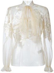 Blumarine Pussy Bow Tulle Blouse Nude And Neutrals