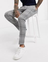 Topman Skinny Smart Trousers In Black And White Check Multi