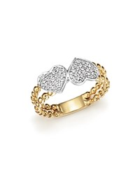 Bloomingdale's Diamond Pave Double Heart Beaded Ring In 14K White And Yellow Gold .15 Ct. T.W.
