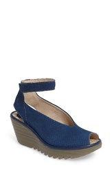 Fly London Women's 'Yala' Perforated Leather Sandal Blue Leather