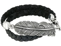 King Baby Studio Double Wrap Leather Bracelet With Raven Feather Black Silver Bracelet
