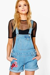 Boohoo Amelie Floral Embroidery Denim Dungaree Shorts Mid Blue