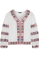 Love Sam Kelli Crochet Trimmed Embroidered Cotton Voile Blouse Ivory
