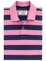 Thomas Pink Harmer Stripe Polo Shirt Pink Navy