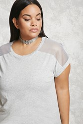 Forever 21 Plus Size Mesh Insert Tee Heather Grey