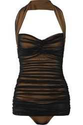 Norma Kamali Bill Mio Ruched Stretch Nylon And Mesh Halterneck Swimsuit Black
