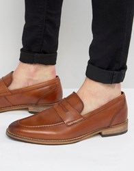 Asos Loafers In Tan Leather With Natural Sole Tan