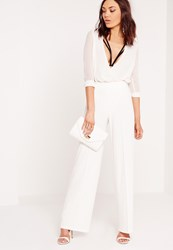 Missguided Pleated Front Wide Leg Trousers White White