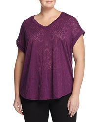 Balance Burnout Rolled Cuff V Neck Tee Wineberry