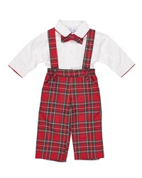 Florence Eiseman Tartan Plaid Suspender Pants W Shirt And Bow Tie Red Green