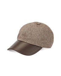 Hat Attack Tweed Leather Brim Baseball Cap Chocolate