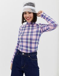 Monki High Neck Jersey Top With Tartan Print In Pink