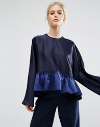 Zacro Smock Top With Contrast Peplum Hem Navy
