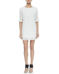 Andrew Marc New York Faux Leather Trim Georgette Sheath Dress White
