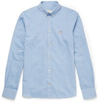 Maison Kitsune Slim Fit Button Down Collar Cotton Chambray Shirt Blue