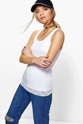 Boohoo Lace Trim Vest White