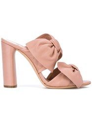 Casadei Tango Bow Detail Mules Pink And Purple
