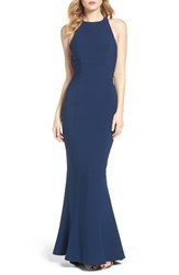 Maria Bianca Nero Women's Ruffle Low Back Mermaid Gown Navy