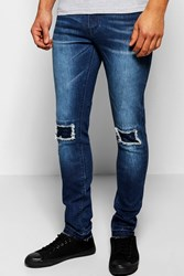 Boohoo Skinny Fit Stretch Jean With Raw Edge Cuff Indigo