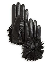 Maison Fabre Short Leather Gloves With Fringe Pom Black
