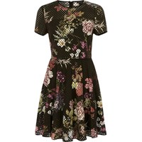 River Island Womens Black Laser Cut Floral Double Layer Dress
