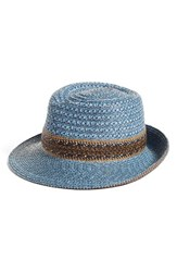 Eric Javits Women's Squishee Straw Fedora Blue Denim