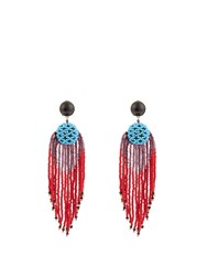 Etro Bead Embellished Tassel Earrings Red Multi