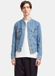 Acne Studios Who Distressed Collarless Denim Jacket Blue