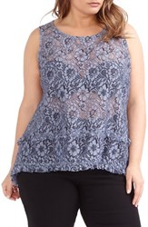 Michel Studio Plus Size Women's Sheer Lace Sleeveless Blouse