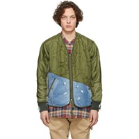 Greg Lauren Green And Blue 50 50 Modern Flight Jacket