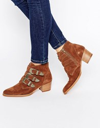 Asos Ryder Suede Buckle Ankle Boots Rust Brown
