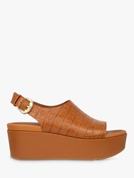 Fitflop Eloise Croc Print Leather Wedge Sandals Brown