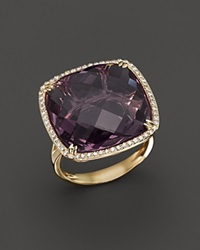 Bloomingdale's Amethyst And Diamond Statement Ring In 14K Yellow Gold