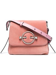 J.W.Anderson Jw Anderson Pink Disc Suede And Leather Cross Body Bag Pink And Purple