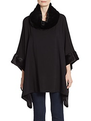 Saks Fifth Avenue Faux Fur Accented Jersey Poncho Black