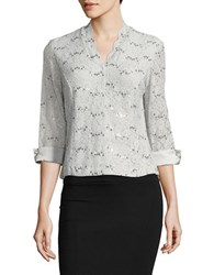 Alex Evenings Evening Frost Embellished Lace Top Platinum