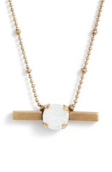 Loren Hope Nora Crystal Bar Necklace White Opal Gold