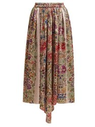 By Walid Margot Floral Print Silk Midi Skirt Pink Print