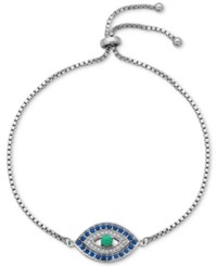 Giani Bernini Cubic Zirconia Evil Eye Adjustable Bracelet In Sterling Silver Only At Macy's