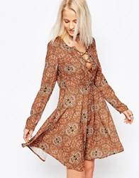 Glamorous Long Sleeve Skater Dress Tan Brown