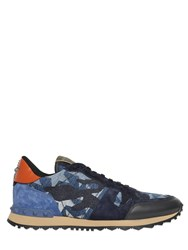 Valentino Rockrunner Stars Denim And Suede Sneakers