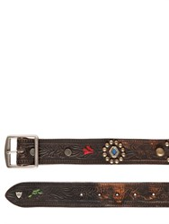 Htc Hollywood Trading Company Studded And Embossed Vintage Leather Belt