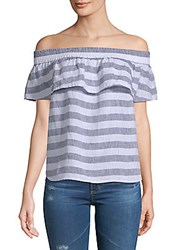 Saks Fifth Avenue Ruffled Off The Shoulder Linen Top Navy White