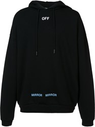 Off White Printed Back Hoodie Black
