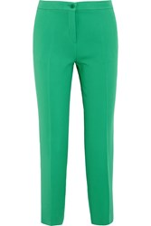 Etro Capri Crepe Straight Leg Pants Green