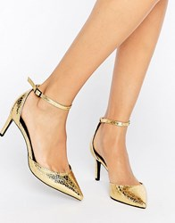 Asos Scotty Pointed Heels Gold Snake