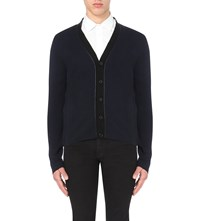 Sandro Contrast Trim Knitted Cardigan Navy Blue