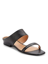 Halston Leather Square Open Toe Sandals Black